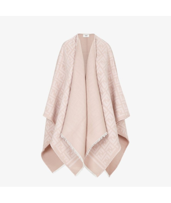 silk and wool pink poncho Fendi