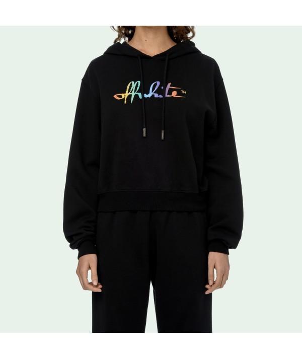 Rainbow Off-white Crop Hoodie