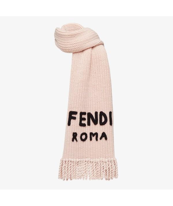 pink wool scarf fendi with black logo